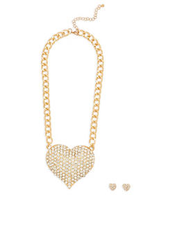 Large Rhinestone Heart Necklace and Stud Earrings - 1138035153308