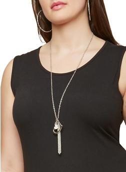 Metallic Heart Necklace and Hoop Earring Trio - 1138035153471