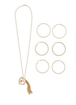 Metallic Heart Necklace and Hoop Earring Trio - 1138035153471