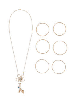 Flower Charm Necklace with Hoop Earring Trio - 1138035153474