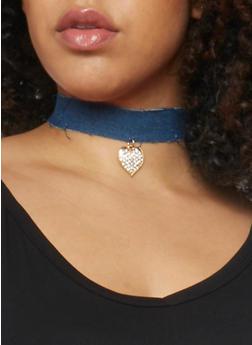 Rhinestone Heart Charm Denim Choker - 1138035153739