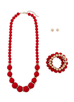 Beaded Necklace with Stretch Bracelets and Earrings - 1138035153854