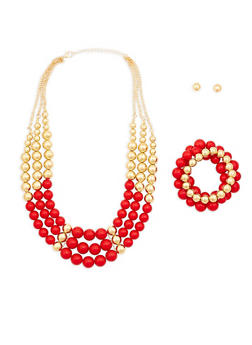 Large Bead Necklace with Bracelets and Earrings - 1138035153869
