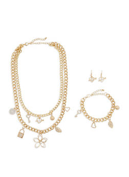 Layered Charm Necklace with Bracelet and Earrings - 1138035153879