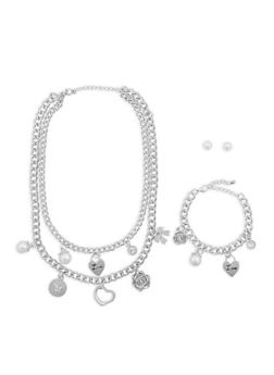 Faux Pearl and Rhinestone Charm Necklace with Bracelet and Earrings - 1138035153897