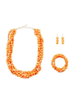 Beaded Multi Row Necklace with Bracelets and Earrings - 1138035153903