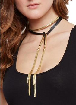 Faux Leather Metallic Fringe Wrap Choker Necklace - 1138035154130