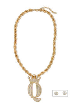 Large Rhinestone Q Pendant Necklace with Rope Chain and Earring Set - 1138035154235