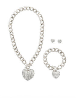 Rhinestone Heart Charm Necklace with Bracelet and Stud Earrings - 1138035154254