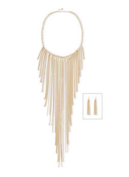 Fringed Curb Chain Necklace with French Wire Earring Set - 1138035154313