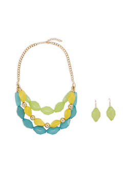 Tiered Chunky Necklace with Drop Earrings - 1138035154332