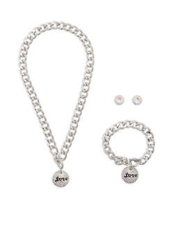Love Chain Necklace with Bracelet and Earrings - 1138035155449