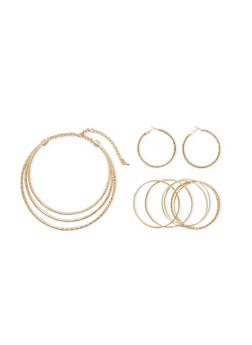 Coil Necklace with Twisted Hoop Earrings and Multi Textured Bangles Set - 1138035155454