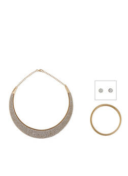 Rhinestone Collar Necklace with Bangle and Earrings - 1138035156625