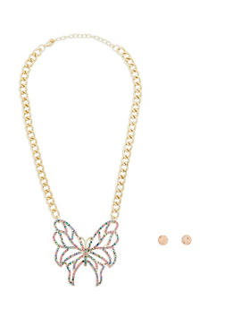 Rhinestone Butterfly Necklace with Stud Earrings - 1138035157167