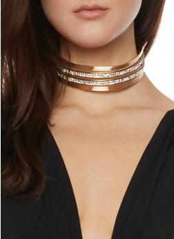 Metal Rhinestone Collar Necklace with Stud Earrings - 1138035157666