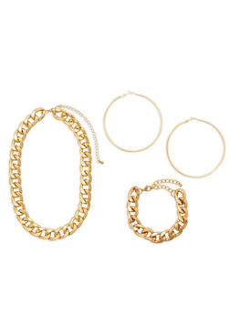 Curb Chain Necklace and Bracelet with Hoop Earrings - 1138035157705