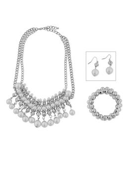 4 Row Pearl Fringe Necklace with Bracelette and Earring Set - 1138035157830