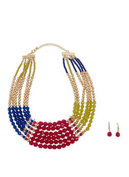 Multi Row Beaded Necklace with Drop Earrings - 1138035157843