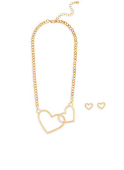 Interlocking Heart Necklace with Stud Earrings - 1138035158853