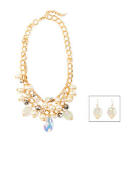 Faux Pearl Statement Necklace with Drop Earrings Set - 1138035159185