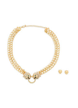 Double Jaguar Chain Necklace with Stud Earrings - 1138035159717