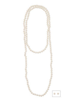 Long Beaded Pearl Necklace with Matching Earrings - 1138044092415