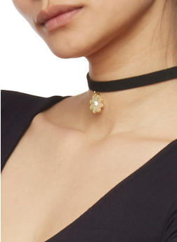 Set of 3 Choker Necklaces with Charms and Studded Details - 1138044098493