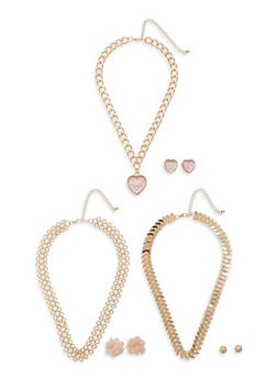 Metallic Chain Necklaces and Stud Earrings Set - 1138057690014