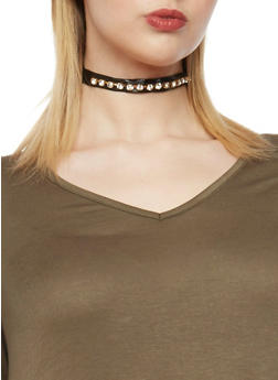 Double Choker Set with Rhinestone Stud Earrings - 1138057690043