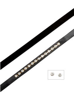 Double Choker Set with Rhinestone Stud Earrings - 1138057690043