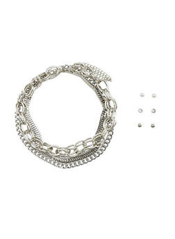 Mixed Chain Collar Necklace and Earrings Set - 1138057691426