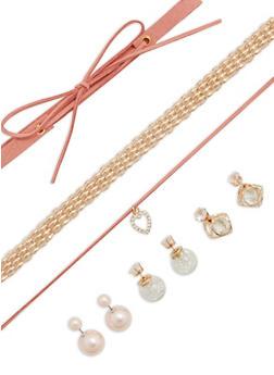 Set of 3 Chokers and Reversible Stud Earrings - 1138057691639