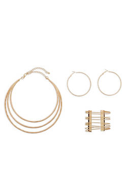 3 Row Collar Necklace with Cuff and Hoop Earrings - 1138057692484