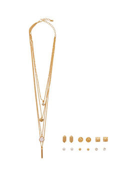 Multi Layered Necklace and Earring Set - 1138057693376