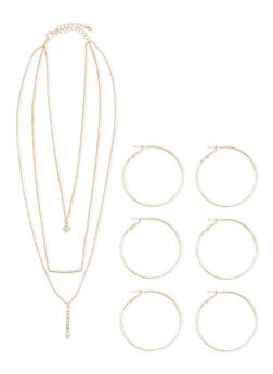 Layered Charm Necklace with Three Hoop Earrings Set - 1138057693378