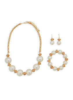 Large Faux Pearl Jewelry Set - 1138057693970