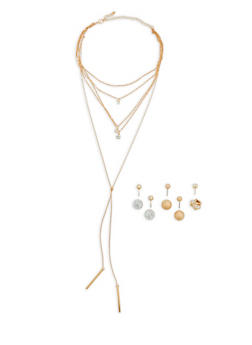 Layered Necklace with Reversible Stud Earrings - 1138057694647