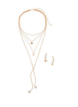 Layered Charm Necklace with Rhinestone Crawler Earrings - 1138057695714