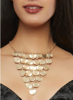 Metallic Disc Bib Necklace with Bracelets and Earrings - 1138057695788