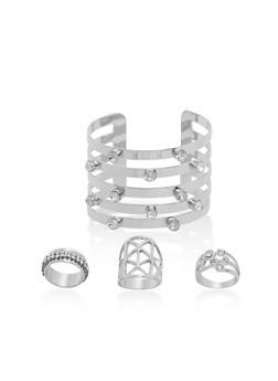 Set of 3 Rhinestone Rings and Matching Cuff Bracelet - 1138057695794