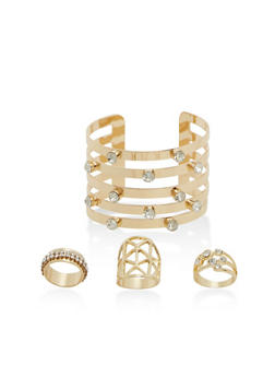 Set of 3 Rhinestone Rings and Matching Cuff Bracelet - 1138057695794