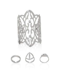 Rhinestone Studded Cuff Bracelet with 3 Matching Rings - 1138057695795