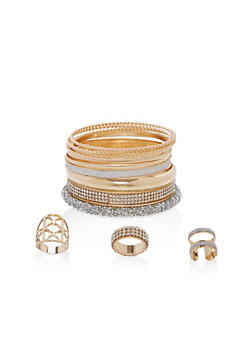 Plus Size Rhinestone Encrusted Bangles and Rings Set - 1138057695902