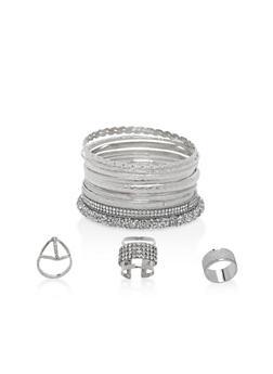 Plus Size Rhinestone Bangles and Rings - 1138057695905