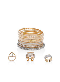 Plus Size Rhinestone Bangles and Rings - 1138057695905