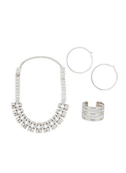 Glitter Link Necklace with Matching Cuff and Hoop Earrings - 1138057697579