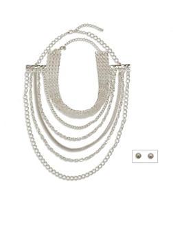 Multi Layered Choker and Earring Set - 1138057698082