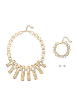 Link Chain Necklace Bracelet and Stud Earrings Set - 1138057698306
