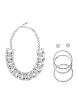 Glitter Link Necklace Bracelet and Earrings Set - 1138057698308
